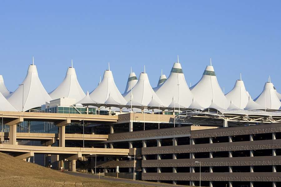 Denver International tents and parking garage that are part of DIA airport renovation and expansion project