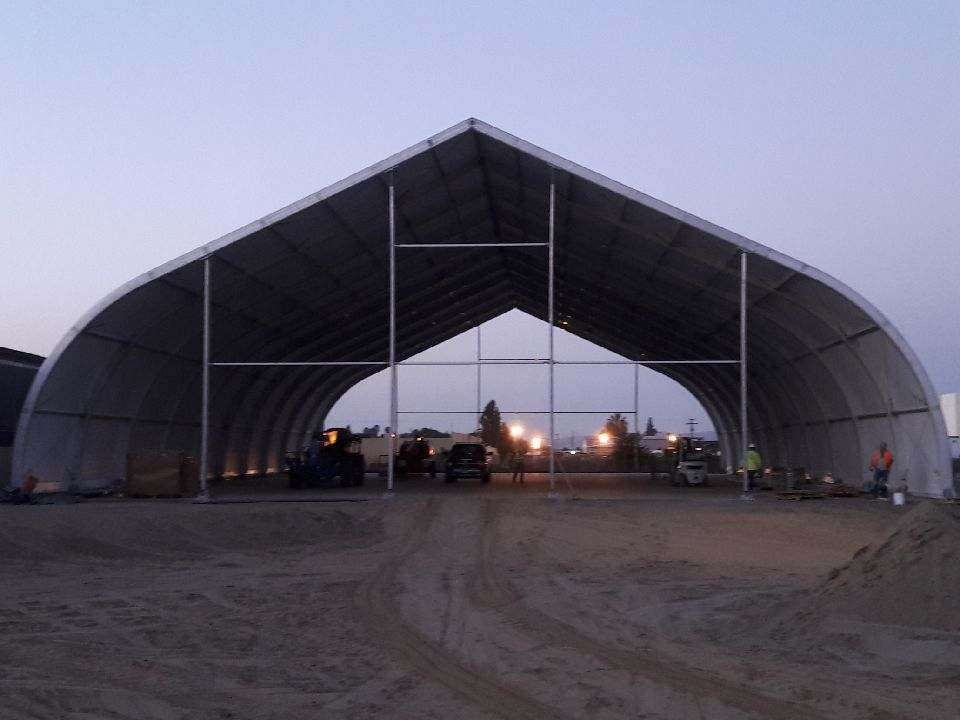 Exterior view of Allsite tension fabric shelter under construction for the city of Pomona CA homeless shelter
