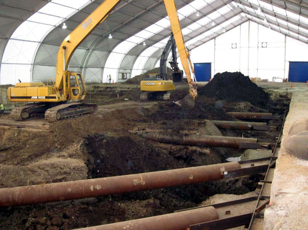 interior of tension fabric building in a ground remediation project during disaster recovery project