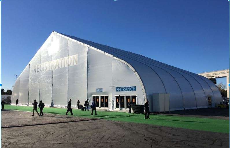 CES 2017 Consumer Electronics Show registration building a tension fabric structure at the Las Vegas Convention Center