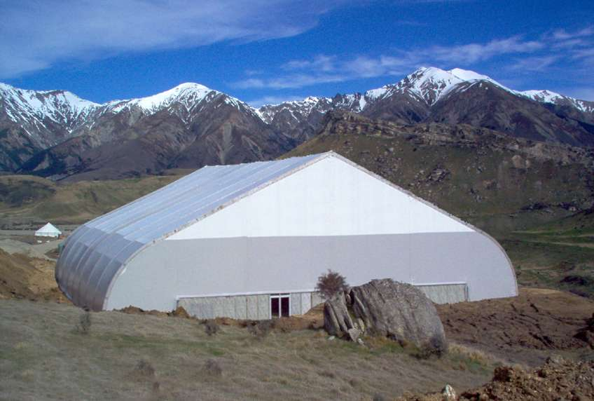Allsite TFS fabric building installed in remote mountainous and snowy location