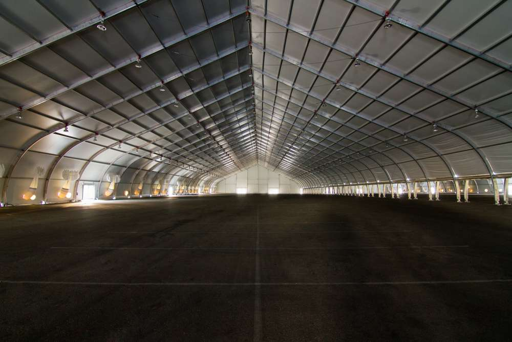 Interior view of aluminum frame tension fabric structure