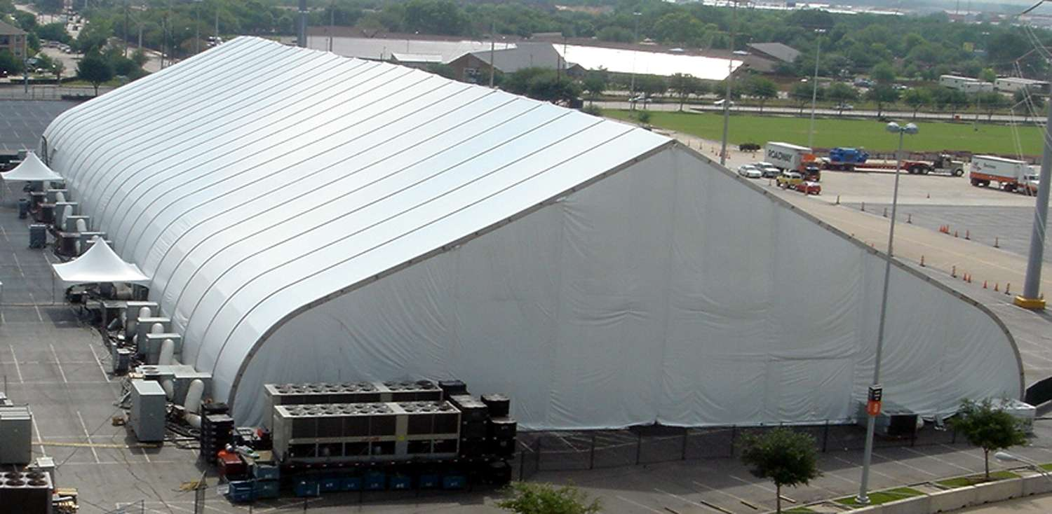 fabric building with HVAC systems for public events