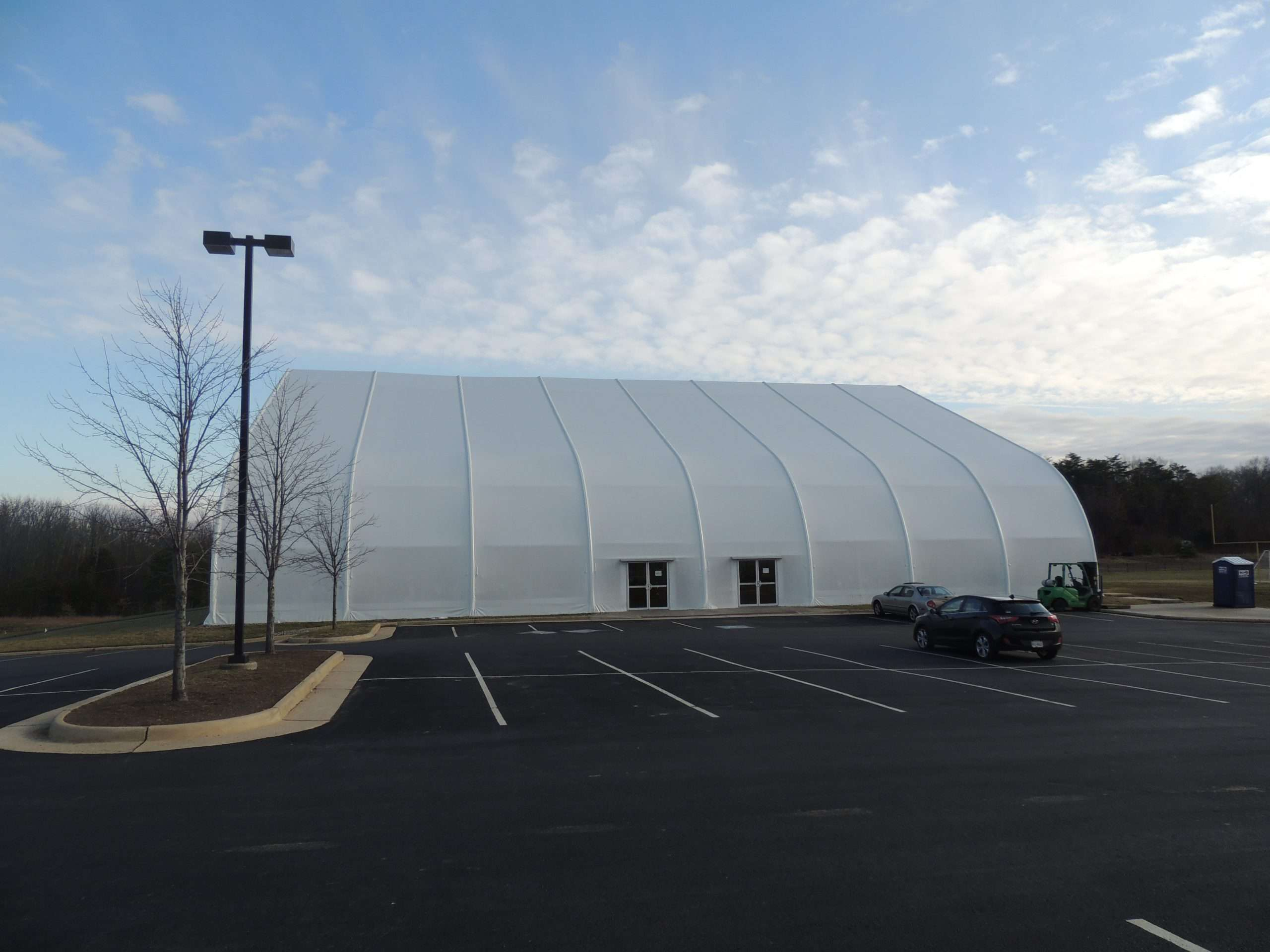 fabric structure designed for VA and isntalled on site