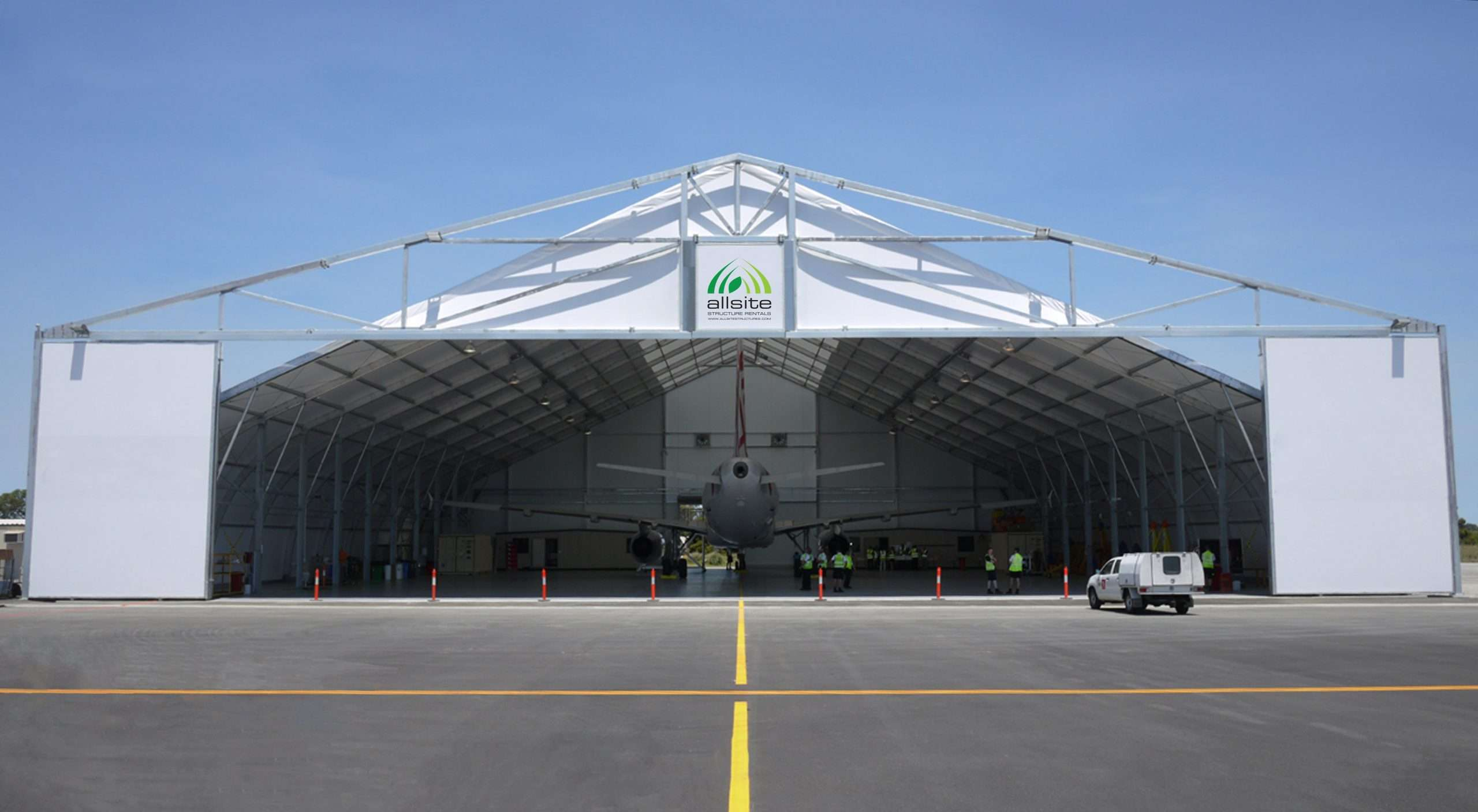 tension fabric building configured for military aviation use