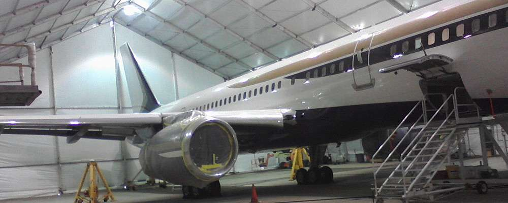 Allsite clear span tension fabric aviation hangar