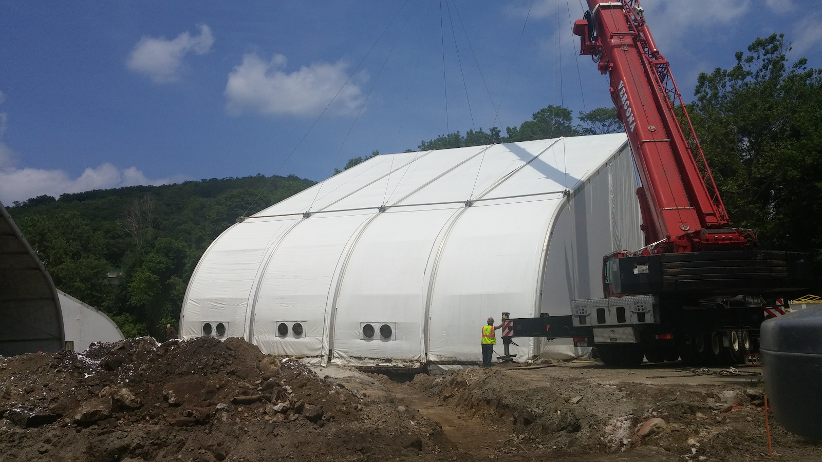 portable tension fabric structure at mining site