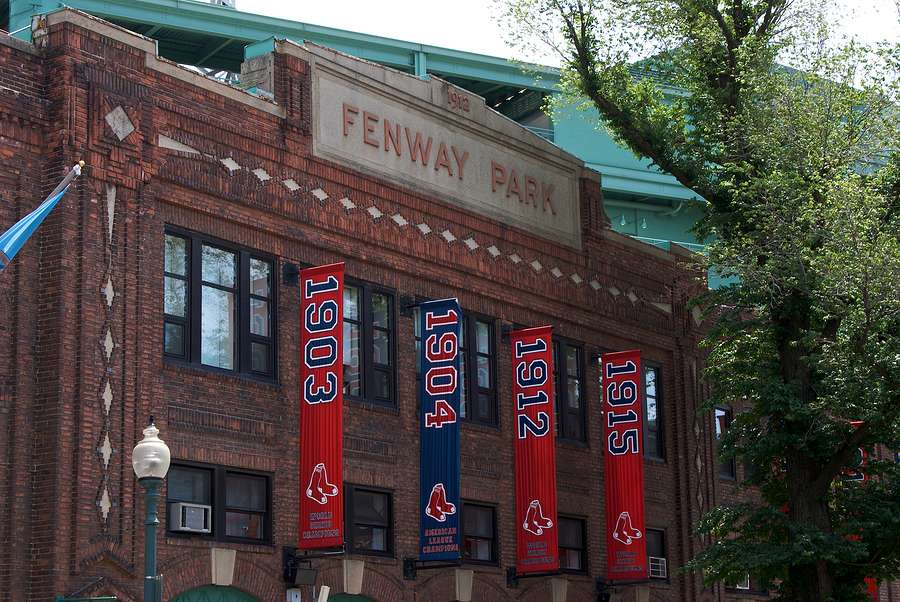 fenway park in kenmore square boston massachusetts showing baseball banners from various years