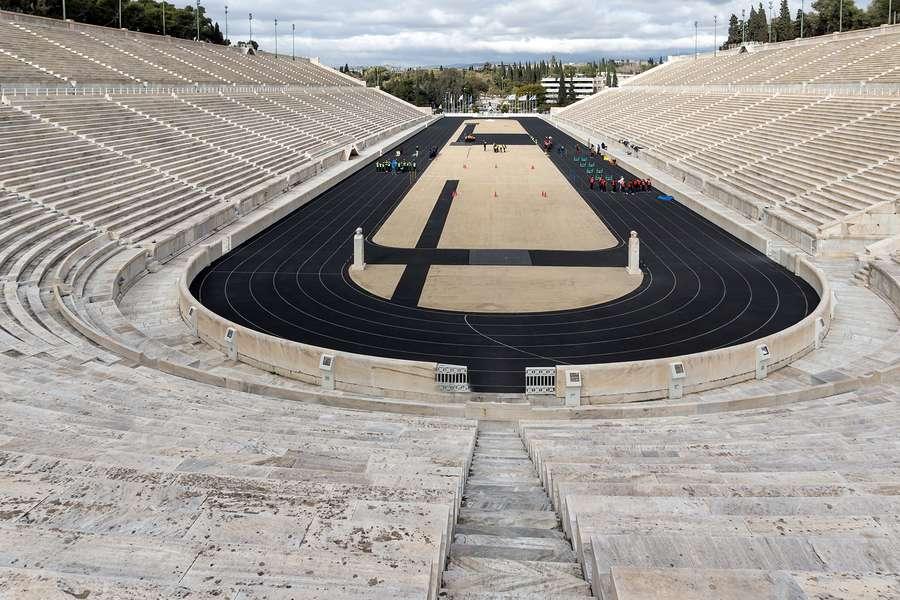 Panorama of Panathenaic stadium or kallimarmaro in Athens, Attica, Greece