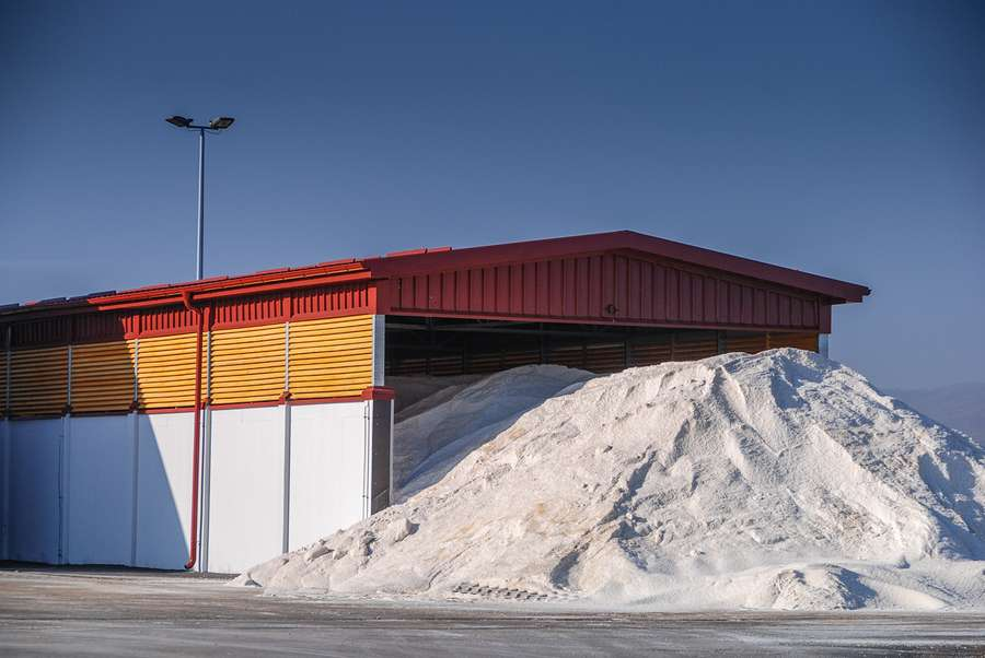 Pile potassium of salt outside the hangar used for defrosting the roads