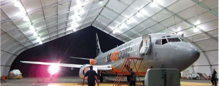 Jetstar aircraft housed in Allsite febric airplane hangar