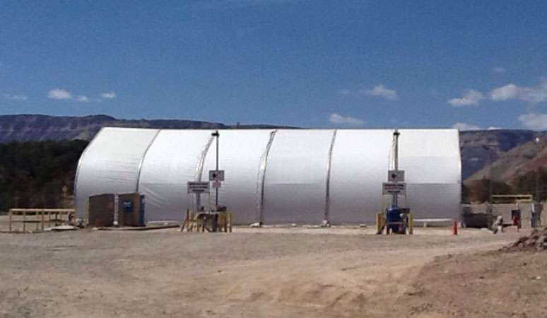 gas fracking temporary tension fabric structure on mining site