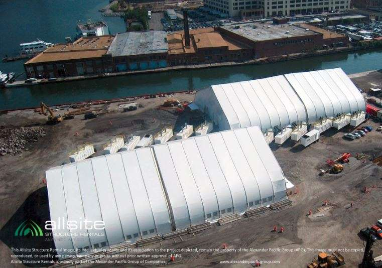 TFS fabric structures at remediation site installation on waterfront