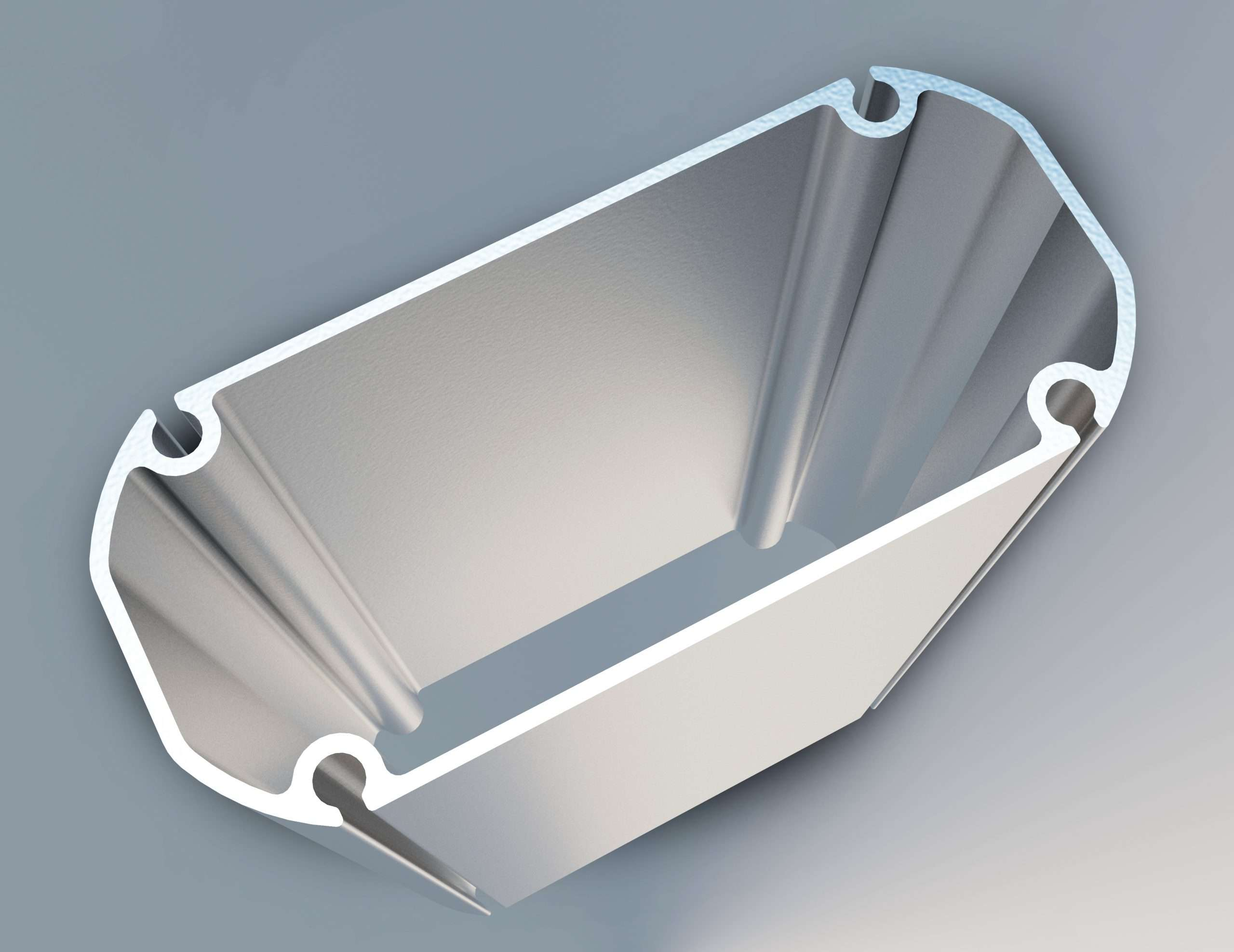 graphic render of extruded aluminum beam denoting flexibility, malleability and strength