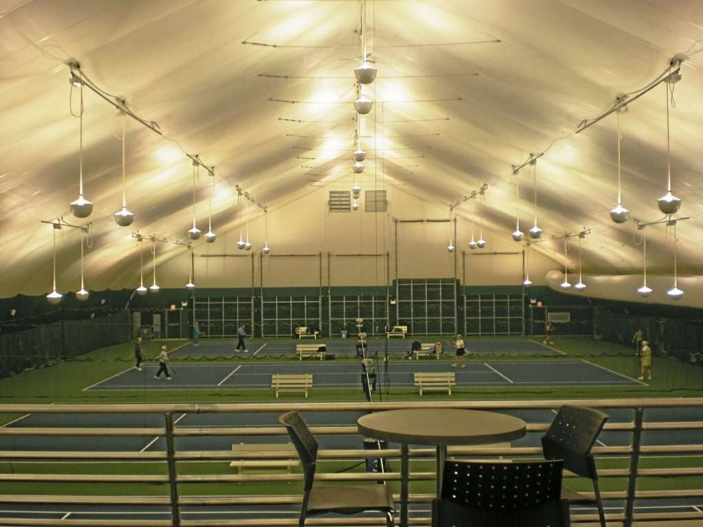 Tension Fabric Tennis Structure at Mercer Park with 3 courts for play from observation deck