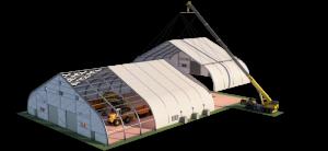 diagram of a temporary fabric building